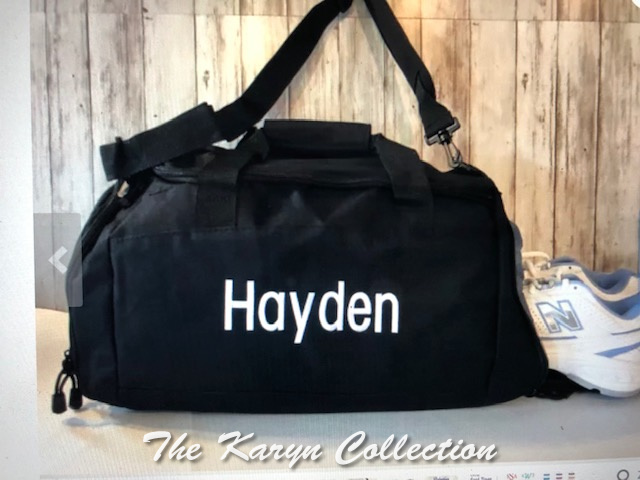 Hayden's black shoe pocket duffle with name only