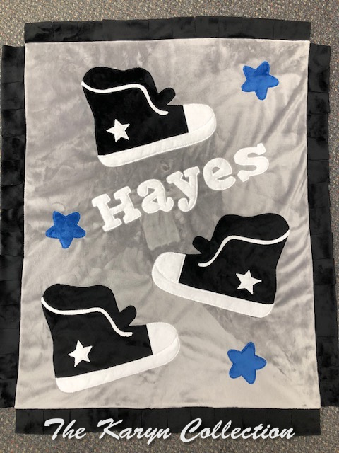Hayes' Sneaker and Stars Minky Blanket