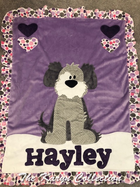 Hayley's Puppy Blanket on purple with polka dots