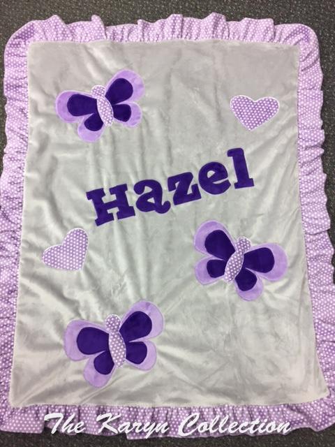Hazel's Lavender Dotted Ruffle Blanket