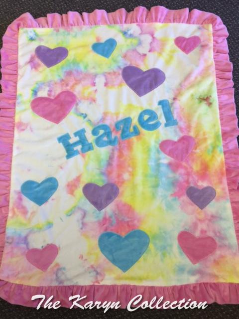 Hazel's Tie Dye Minky Blanket with hearts