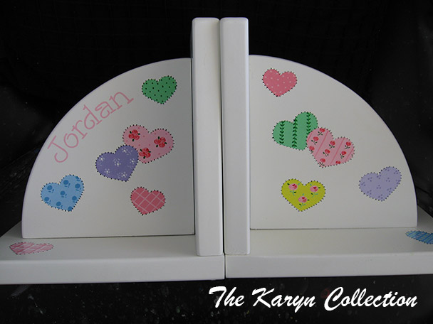 Patchwork Hearts Pastels Bookends