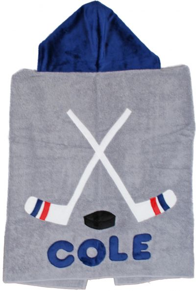 Grey Hockey Toddler Hooded Towel