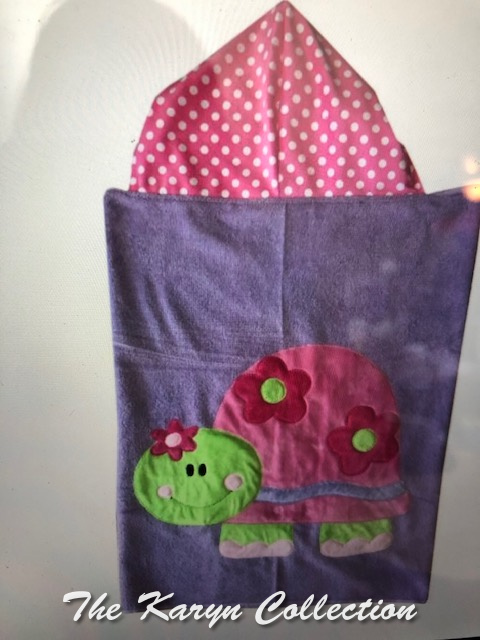 Happy Turtle with Flowers Hooded Towel