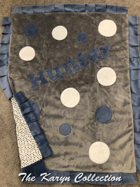Hunter's Dots Minki Blanket on gray with blue and white