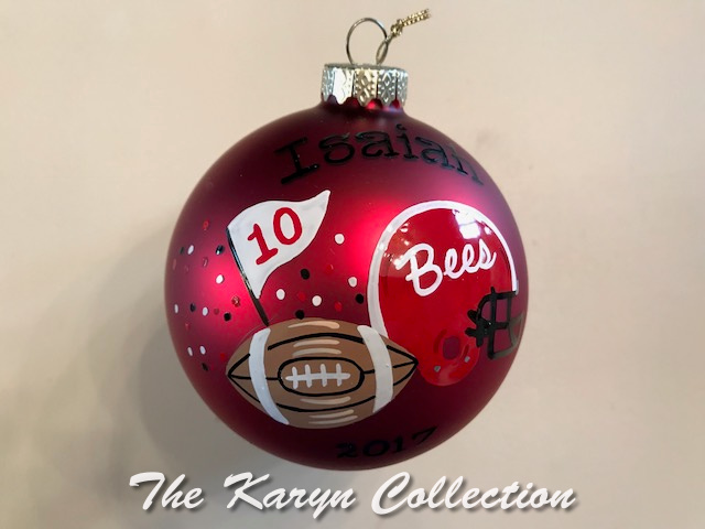 Isaian's Sports Ornament... with your helmet in your TEAM colors... and #