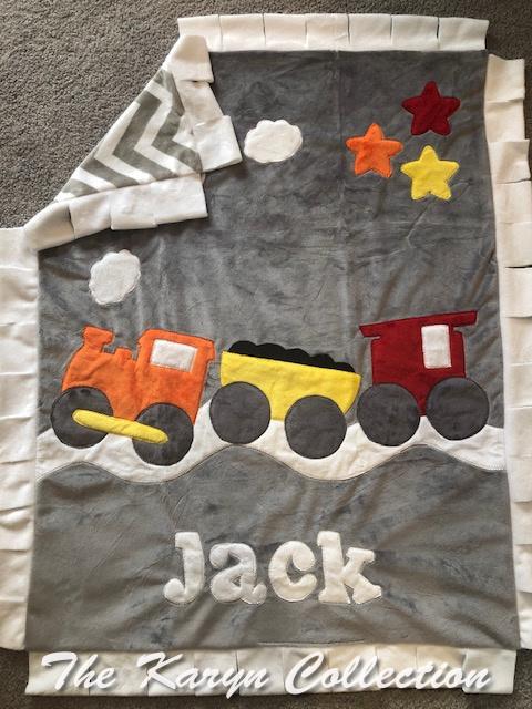 Jack's train minky  blanket.....all aboard!!!