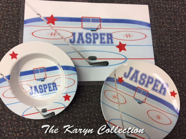 Jasper's Hockey 3-Piece Dish Set