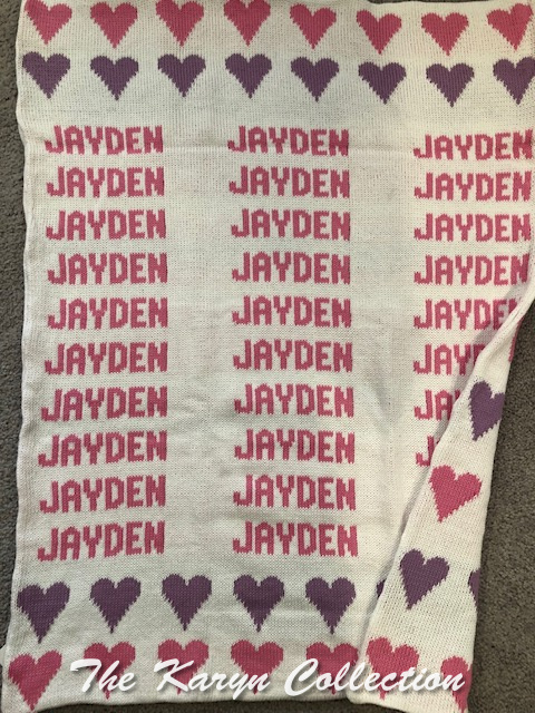 *EXCLUSIVELY OURS... Jayden's hearts cotton blanket (matching roll cap available)