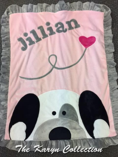 Jillian's Peek-A-Boo Puppy Minky Blanket