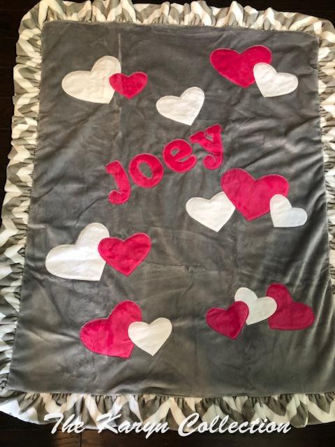 Joey's Gray with Pink Hearts Minki Blanket