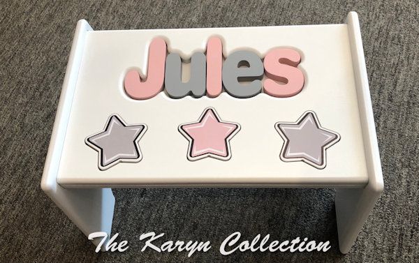 ..New!! Jules' all stars puzzle stool in pink and gray