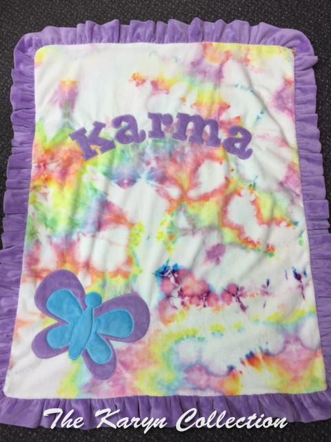 Basic Butterfly Minky Blanket in tie-dye