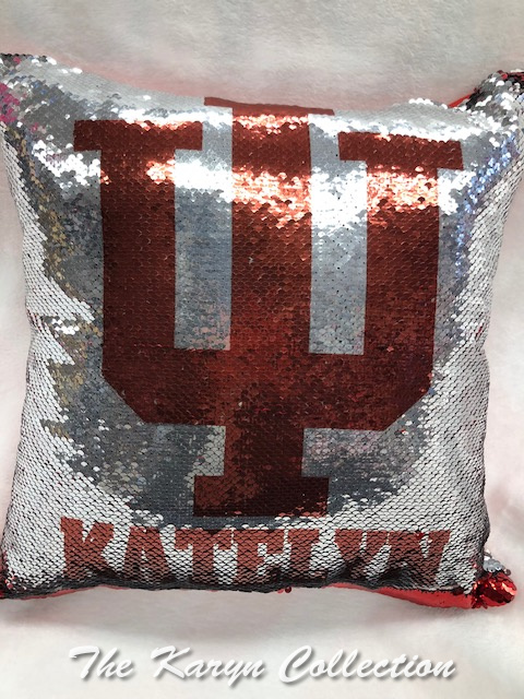 Katelyn's IU (INDIANA) sequin Pillow