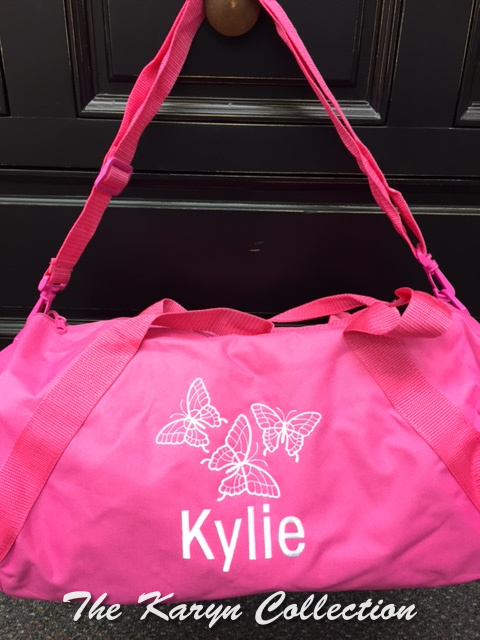 Kylie's Hot Pink Duffle Bag with 3 White Butterflies