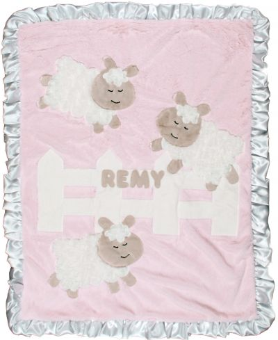 Pink Counting Sheep Minky Blanket