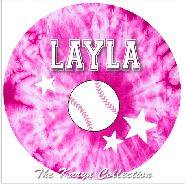 Layla's Hot pink tie dye baseball plate and bowl set