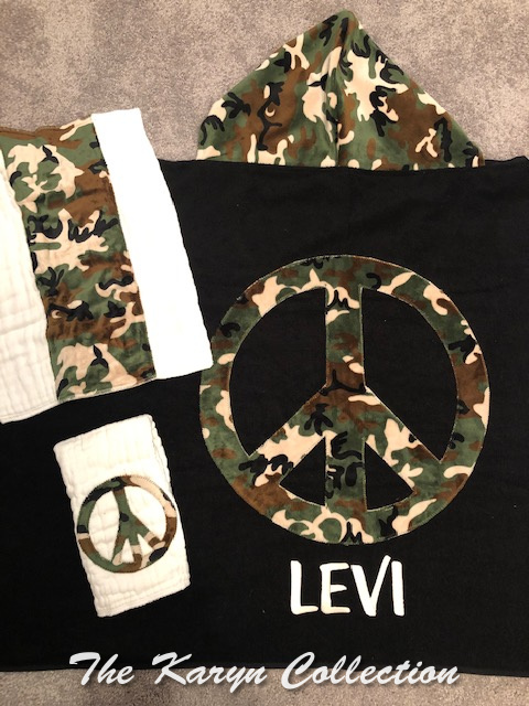 Levi's camo peace sign towel and matching burp set- name monogrammed on towel