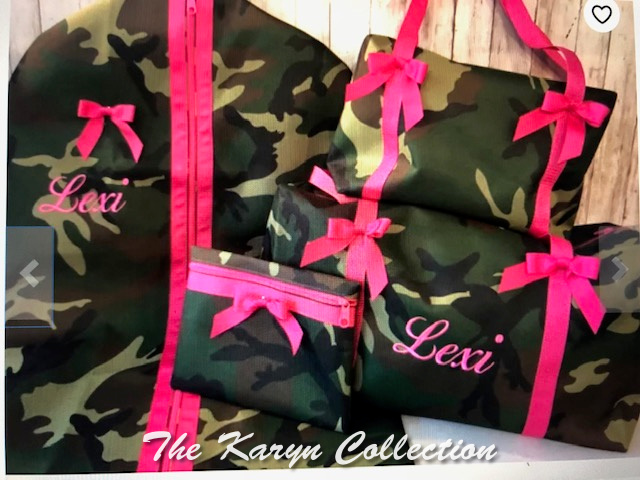 Lexi's Camo Bag with Hot Pink Trim and name