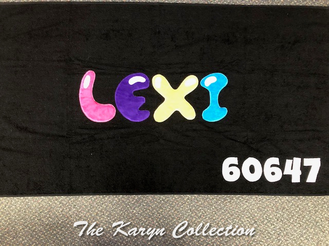 Lexi's Black Camp Towel with Zipcode