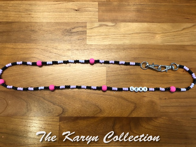 Lexi's black with lavender and  pink bead mask  necklace holder