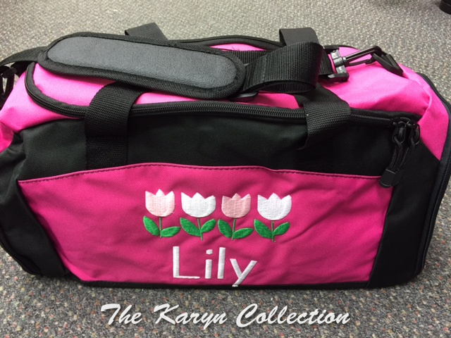 Lily's Hot Pink with Black Trim-shoe pocket duffle