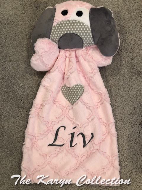 Liv's pink and gray cozy doggie buddy....