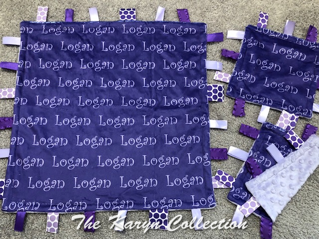 Logan's 3 pc taggie blanket or 1 30 x 36 stroller blanket (not pictured)