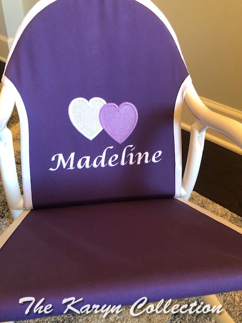 Madeline's Purple Rocker with name in calligraphy**