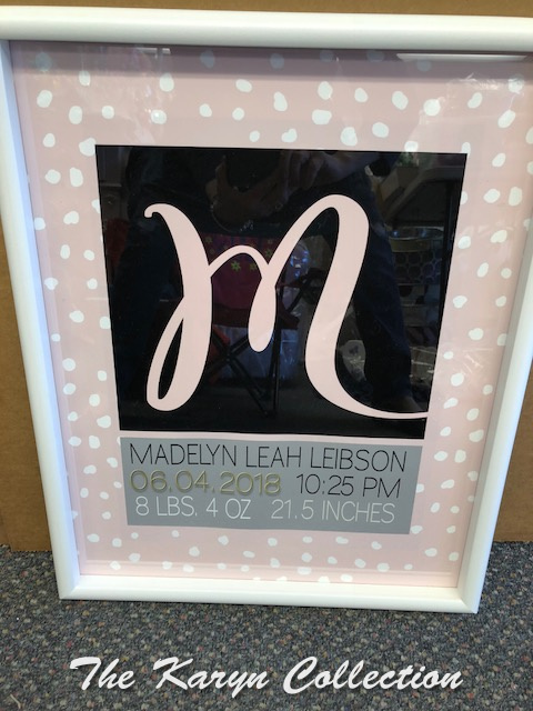 Madelyn's Birth Info Wall Art.....available in colors for boys, too!