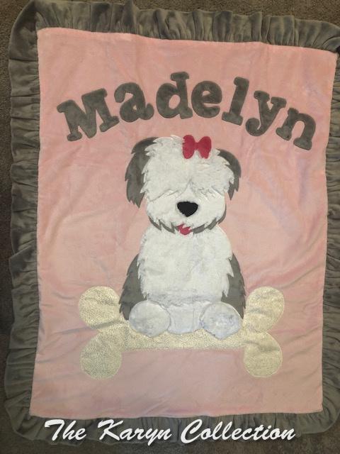 Madelyn's Puppy Blanket sitting on a GLITTER BONE!!!! YUMMY )