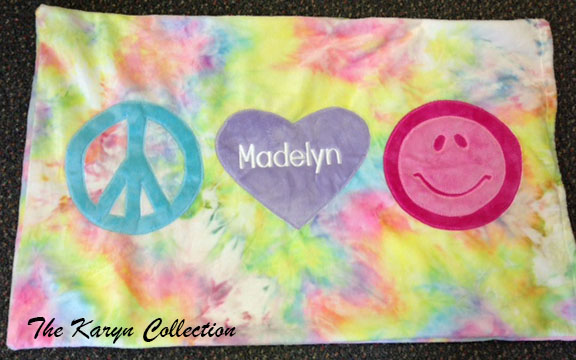 Peace, Love, & Happiness Tie Die Pillow Case