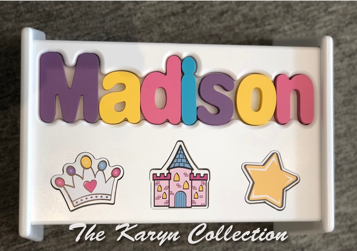 ..New!!  Madison's princess puzzle stool in hot pastel colors