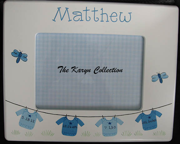 Matthew's Birth Frame in shades of blue