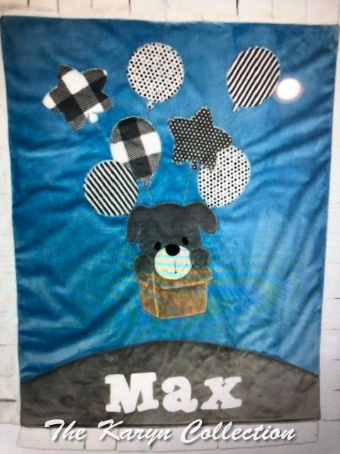 Max's Up and Away puppy minki blanket