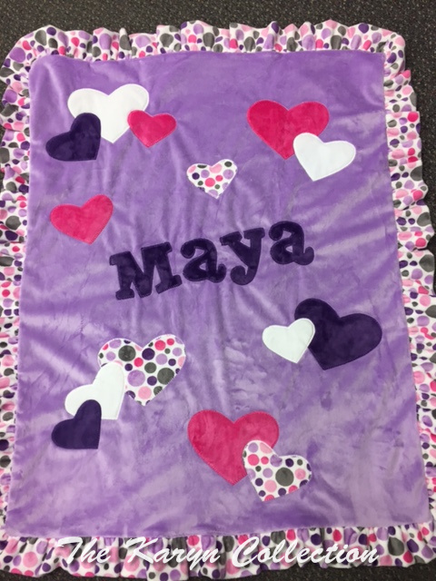 Maya's Lavender Hearts Minky Blanket