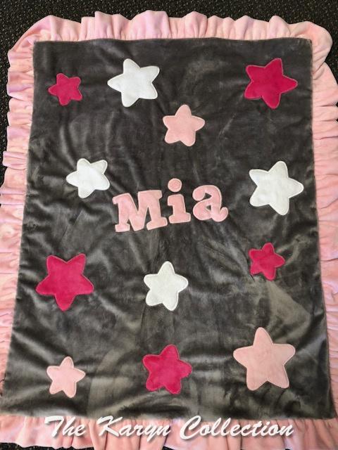 Mia's big and little stars minky blanket