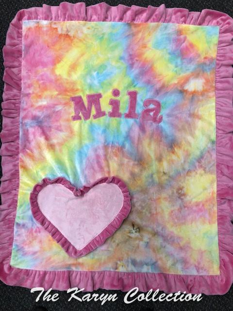 Mila's tie dye basic blanket with ruffled heart