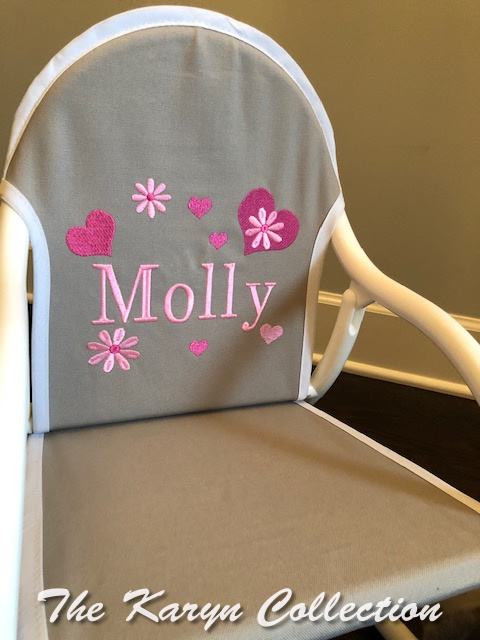 Molly's Hearts and Flowers Rocker on gray canvass trimmed in white