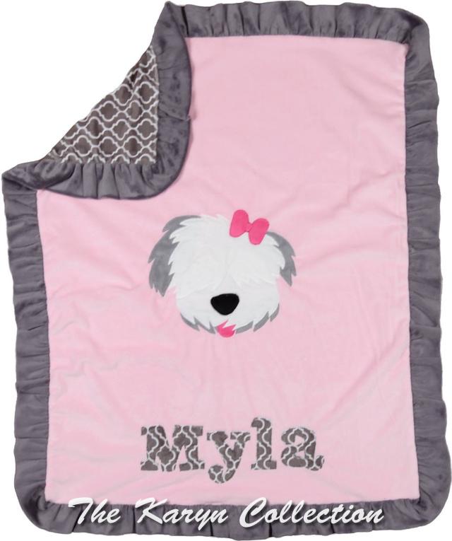 Myla's BASIC Pink with Gray Trim Dog Minky blanket