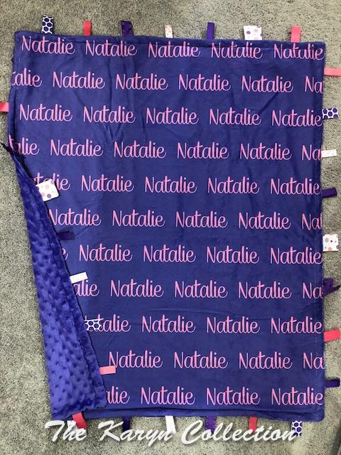 Natalie's Taggie blanket 30 x 36