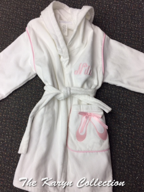 Monogrammed robe with a ballet theme in lt. pink