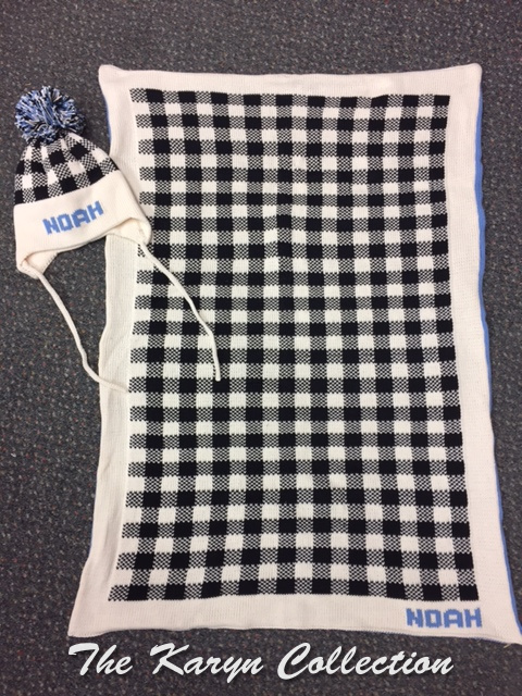 *NOAH'S plaid cotton blanket (pictured with matching hat)