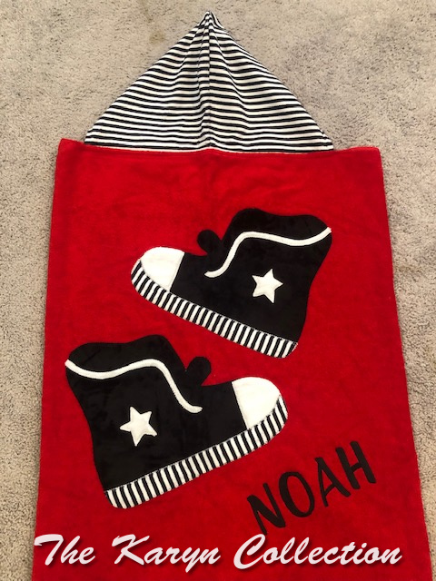 Sneaker towel on red  (I try to keep these instock for fast delivery monogramming**)