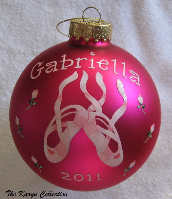 Ballet Slippers with Rosebuds Ornament