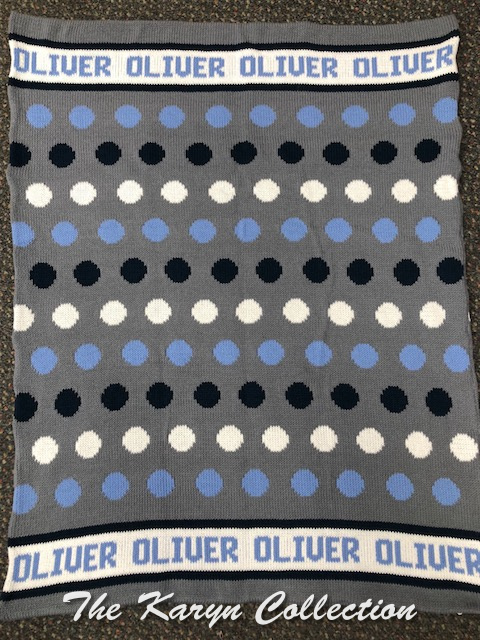 *EXCLUSIVELY OURS...COTTON BLANKET Oliver's Shades of Blue Polka Dots