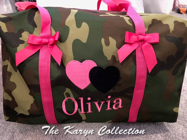 Olivia's Camo Duffle with name and straps in HOT PINK!!