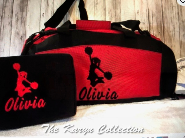 Olivia's CHEERLEADER duffle bag with shoe pocket underneath