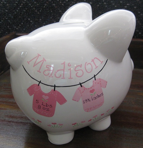 Pink or Blue Baby Onesies Piggy Bank