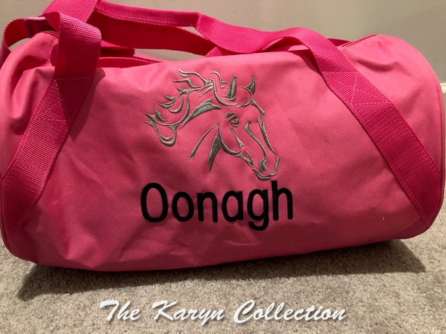 Oonagh's pink horse duffle